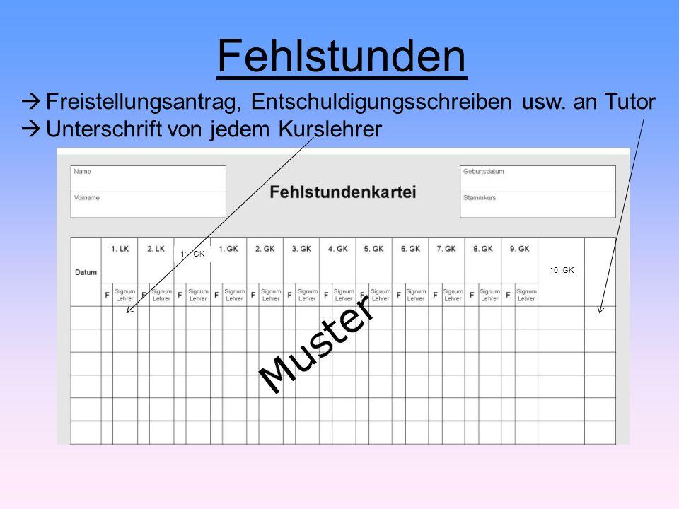 Fehlstunden  Freistellungsantrag, Entschuldigungsschreiben usw. an Tutor  Unterschrift von jedem Kurslehrer 10. GK 11. GK