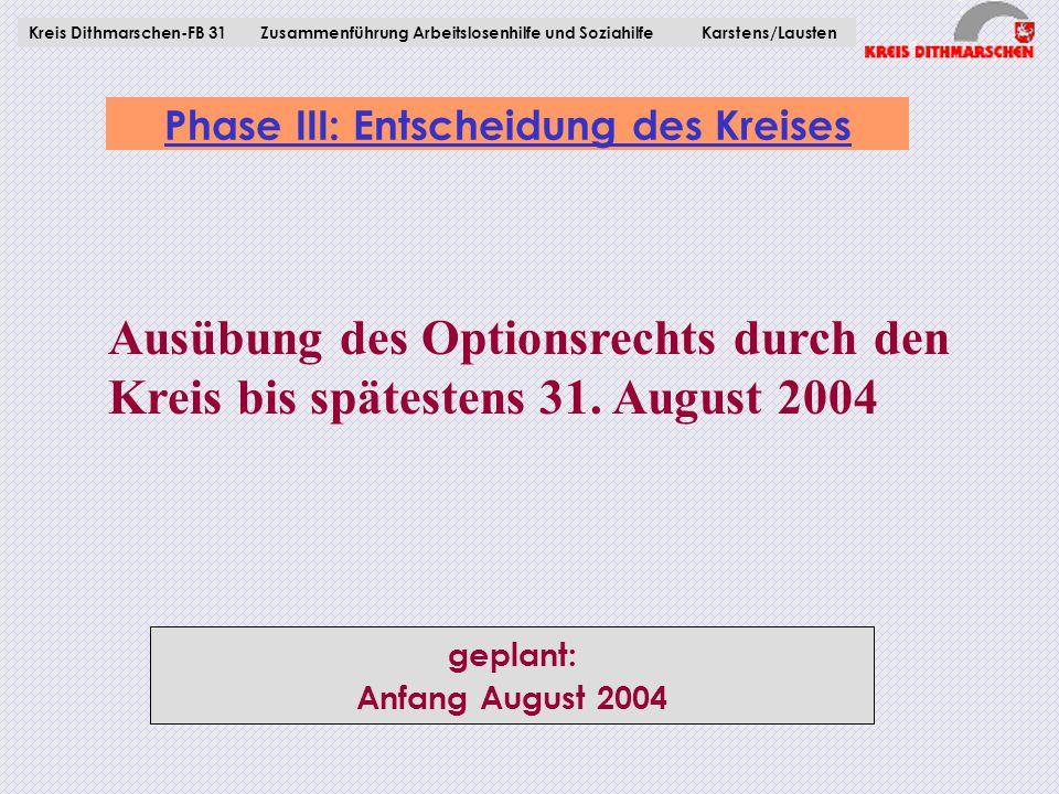 Phase III: Entscheidung des Kreises Kreis Dithmarschen-FB 31Zusammenführung Arbeitslosenhilfe und Soziahilfe Karstens/Lausten Ausübung des Optionsrech