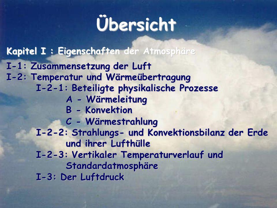 Übersicht Kapitel I : Eigenschaften der Atmosphäre I-1: Zusammensetzung der Luft I-2: Temperatur und Wärmeübertragung I-2-1: Beteiligte physikalische