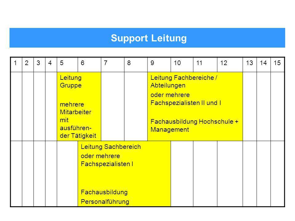 Support Leitung 123456789101112131415 Leitung Gruppe mehrere Mitarbeiter mit ausführen- der Tätigkeit Leitung Fachbereiche / Abteilungen oder mehrere
