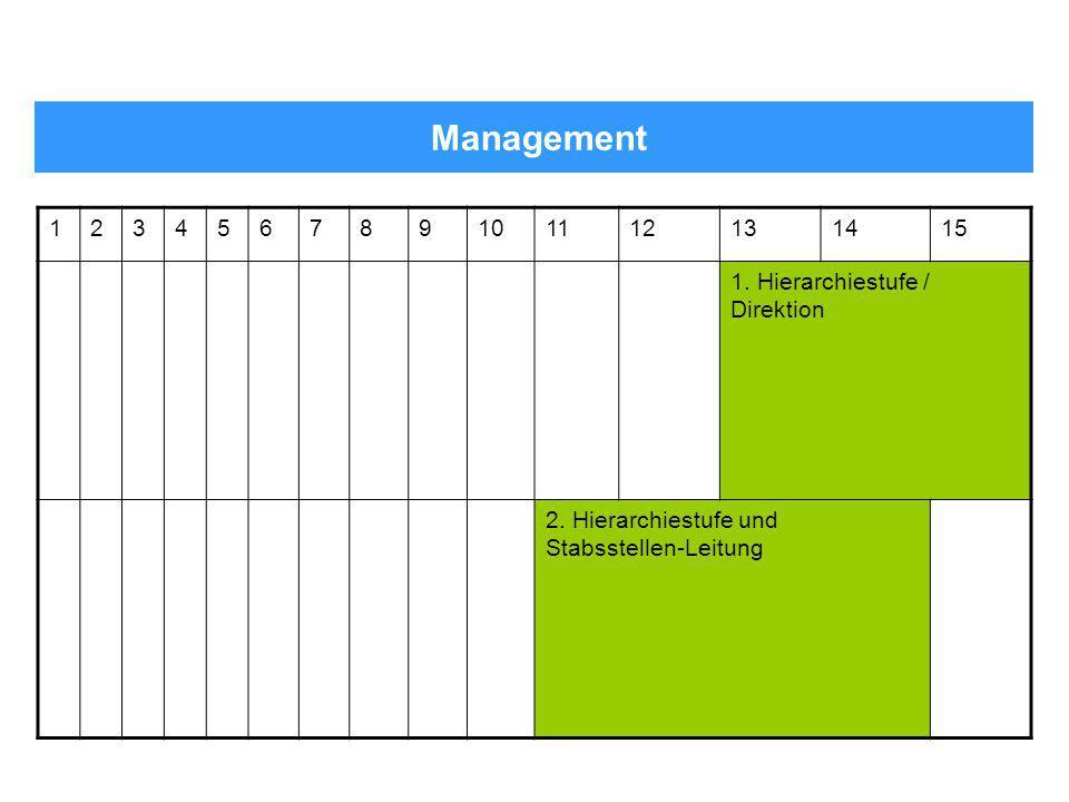 Management 123456789101112131415 1. Hierarchiestufe / Direktion 2. Hierarchiestufe und Stabsstellen-Leitung