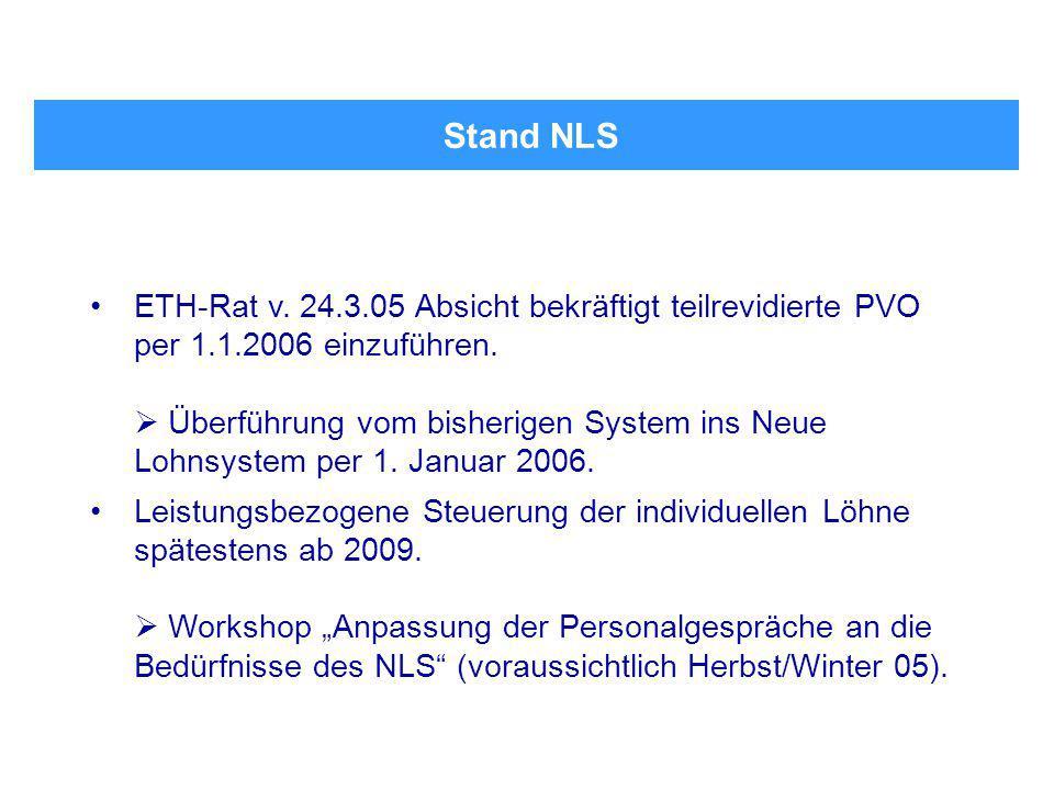 Stand NLS ETH-Rat v. 24.3.05 Absicht bekräftigt teilrevidierte PVO per 1.1.2006 einzuführen.  Überführung vom bisherigen System ins Neue Lohnsystem p