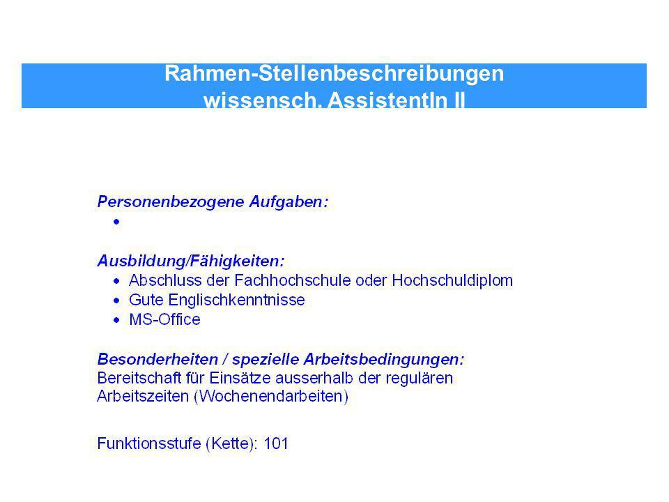 Rahmen-Stellenbeschreibungen wissensch. AssistentIn II