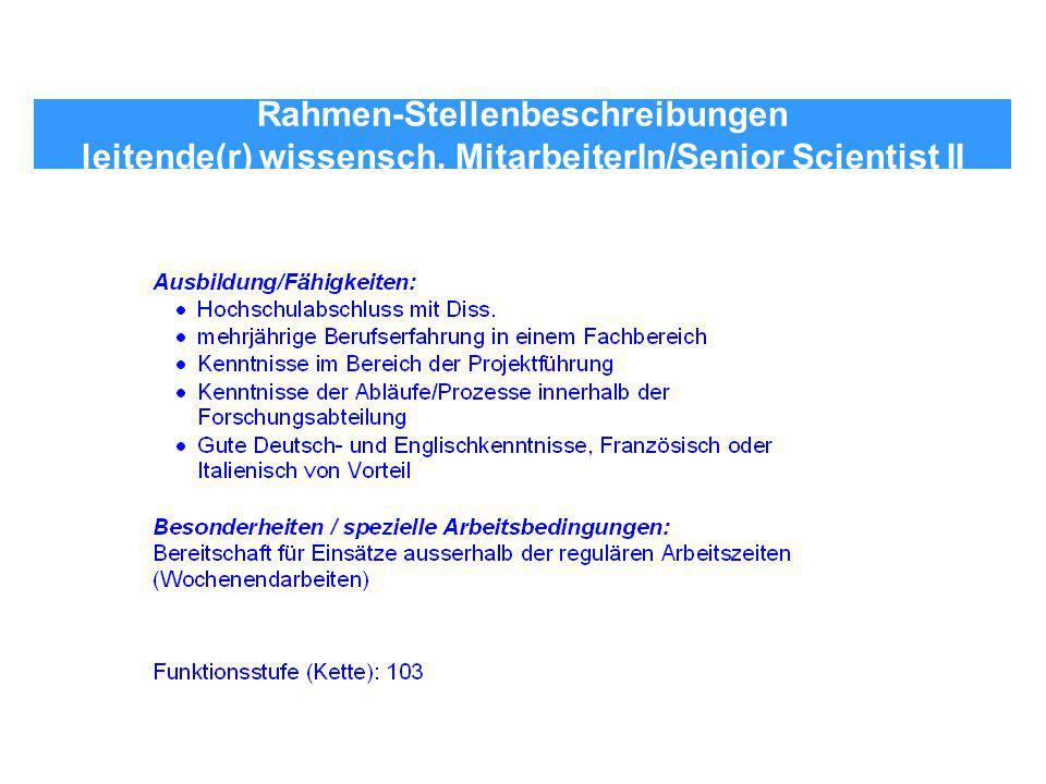 Rahmen-Stellenbeschreibungen leitende(r) wissensch. MitarbeiterIn/Senior Scientist II