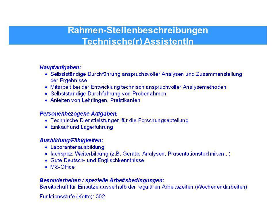 Rahmen-Stellenbeschreibungen Technische(r) AssistentIn