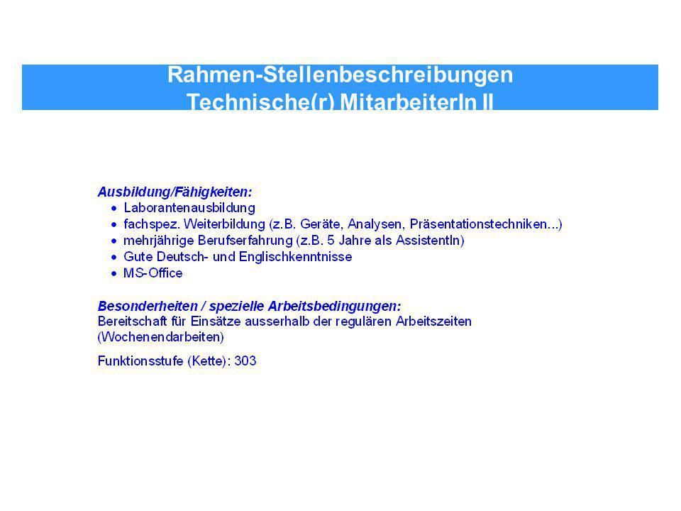 Rahmen-Stellenbeschreibungen Technische(r) MitarbeiterIn II