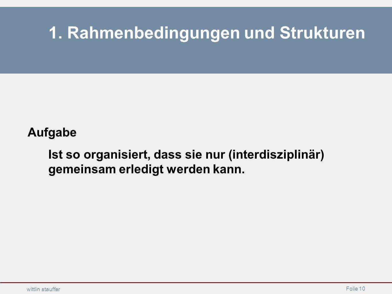 Folie 10 wittlin stauffer 1. Rahmenbedingungen und Strukturen Aufgabe Ist so organisiert, dass sie nur (interdisziplinär) gemeinsam erledigt werden ka