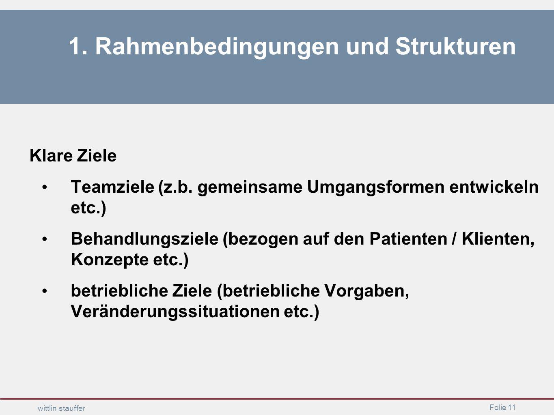 Folie 11 wittlin stauffer 1. Rahmenbedingungen und Strukturen Klare Ziele Teamziele (z.b. gemeinsame Umgangsformen entwickeln etc.) Behandlungsziele (