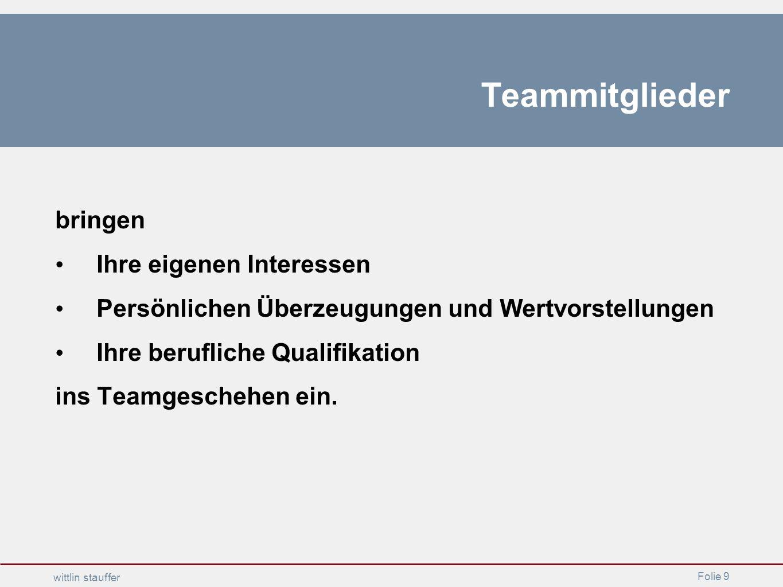 Folie 9 wittlin stauffer Teammitglieder bringen Ihre eigenen Interessen Persönlichen Überzeugungen und Wertvorstellungen Ihre berufliche Qualifikation