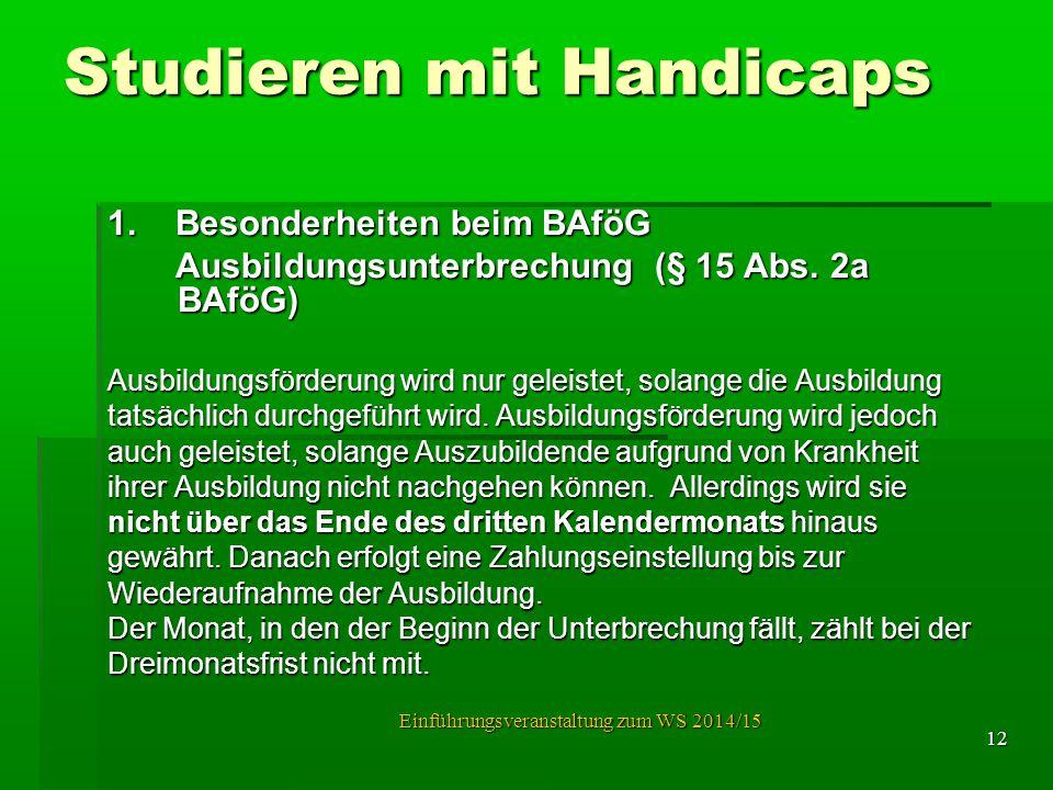 Studieren mit Handicaps 1. Besonderheiten beim BAföG Ausbildungsunterbrechung (§ 15 Abs. 2a BAföG) Ausbildungsunterbrechung (§ 15 Abs. 2a BAföG) Ausbi