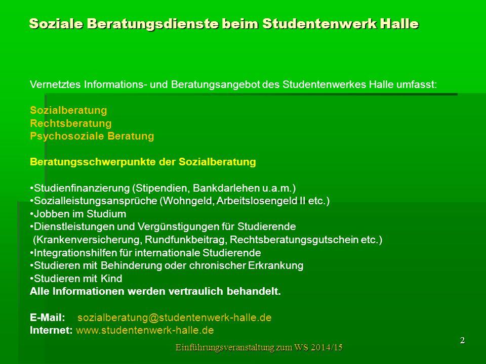 Vernetztes Informations- und Beratungsangebot des Studentenwerkes Halle umfasst: Sozialberatung Rechtsberatung Psychosoziale Beratung Beratungsschwerp