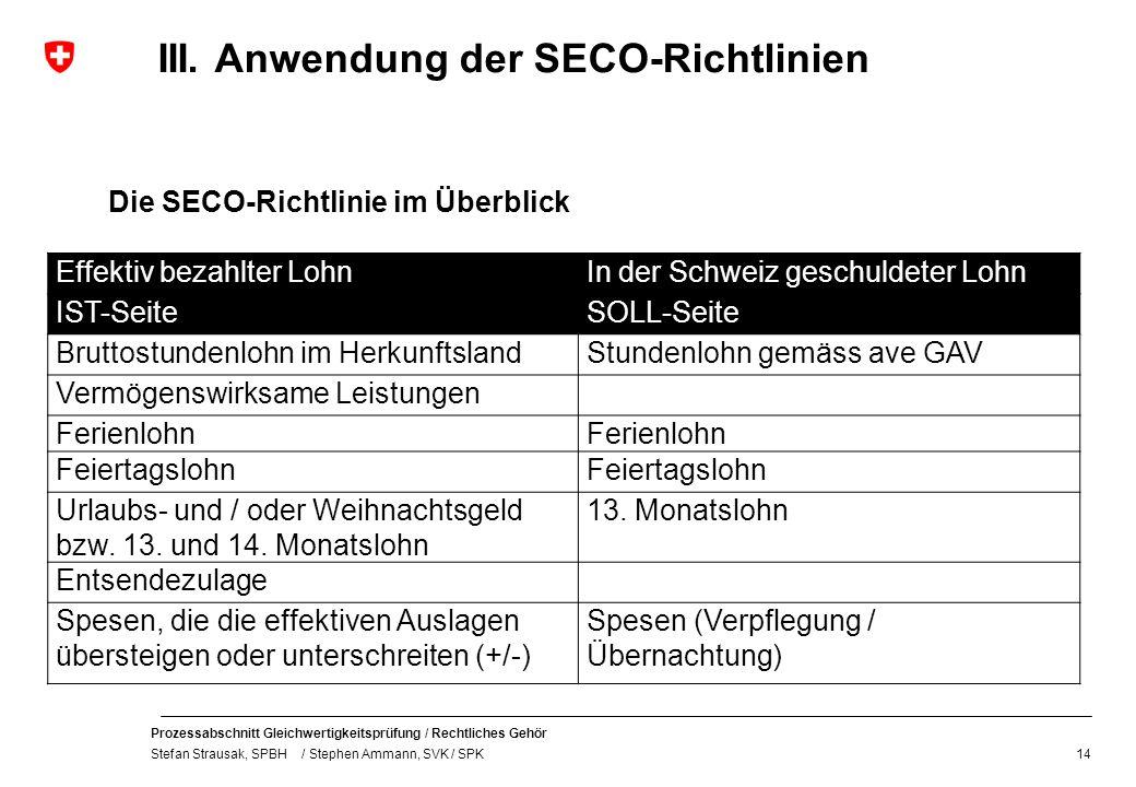 Prozessabschnitt Gleichwertigkeitsprüfung / Rechtliches Gehör Stefan Strausak, SPBH / Stephen Ammann, SVK / SPK III. Anwendung der SECO-Richtlinien Di