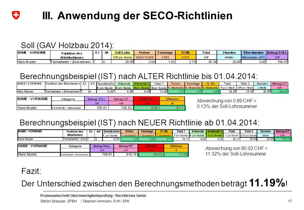 Prozessabschnitt Gleichwertigkeitsprüfung / Rechtliches Gehör Stefan Strausak, SPBH / Stephen Ammann, SVK / SPK III. Anwendung der SECO-Richtlinien 17