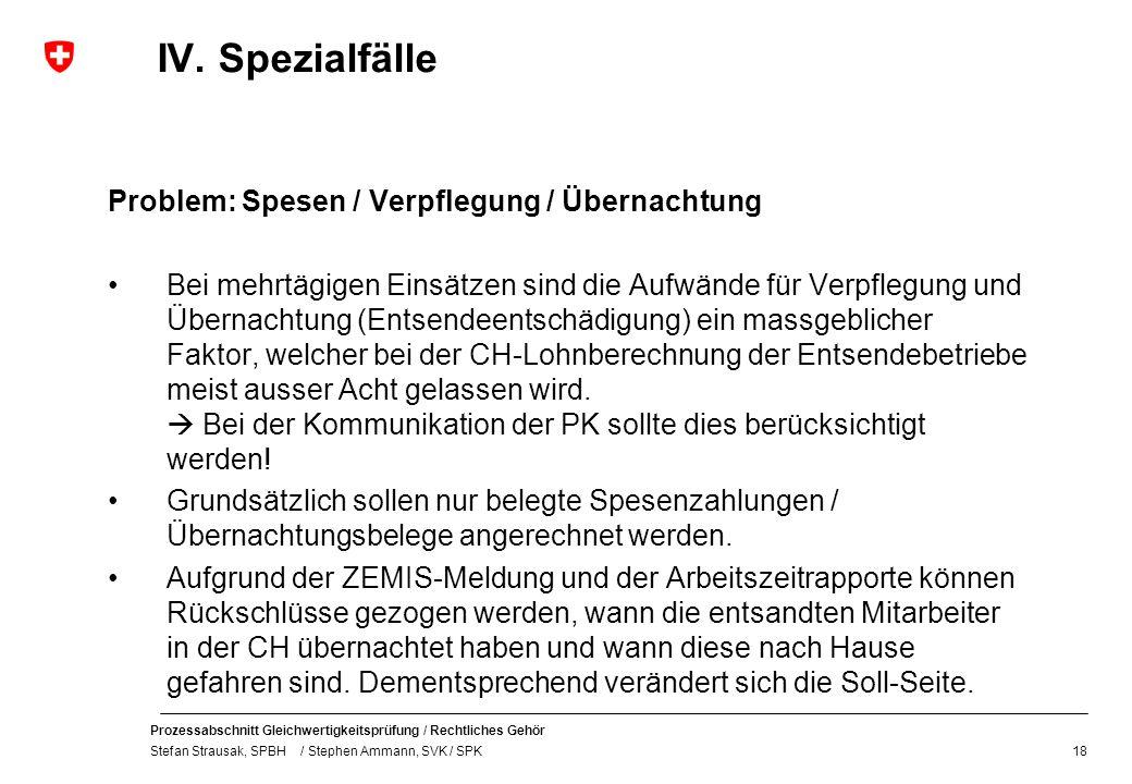 Prozessabschnitt Gleichwertigkeitsprüfung / Rechtliches Gehör Stefan Strausak, SPBH / Stephen Ammann, SVK / SPK IV. Spezialfälle Problem: Spesen / Ver