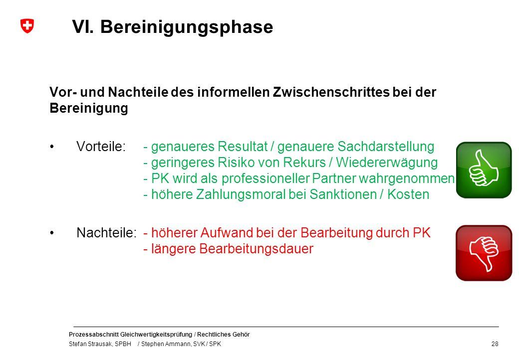 Prozessabschnitt Gleichwertigkeitsprüfung / Rechtliches Gehör Stefan Strausak, SPBH / Stephen Ammann, SVK / SPK VI. Bereinigungsphase Vor- und Nachtei