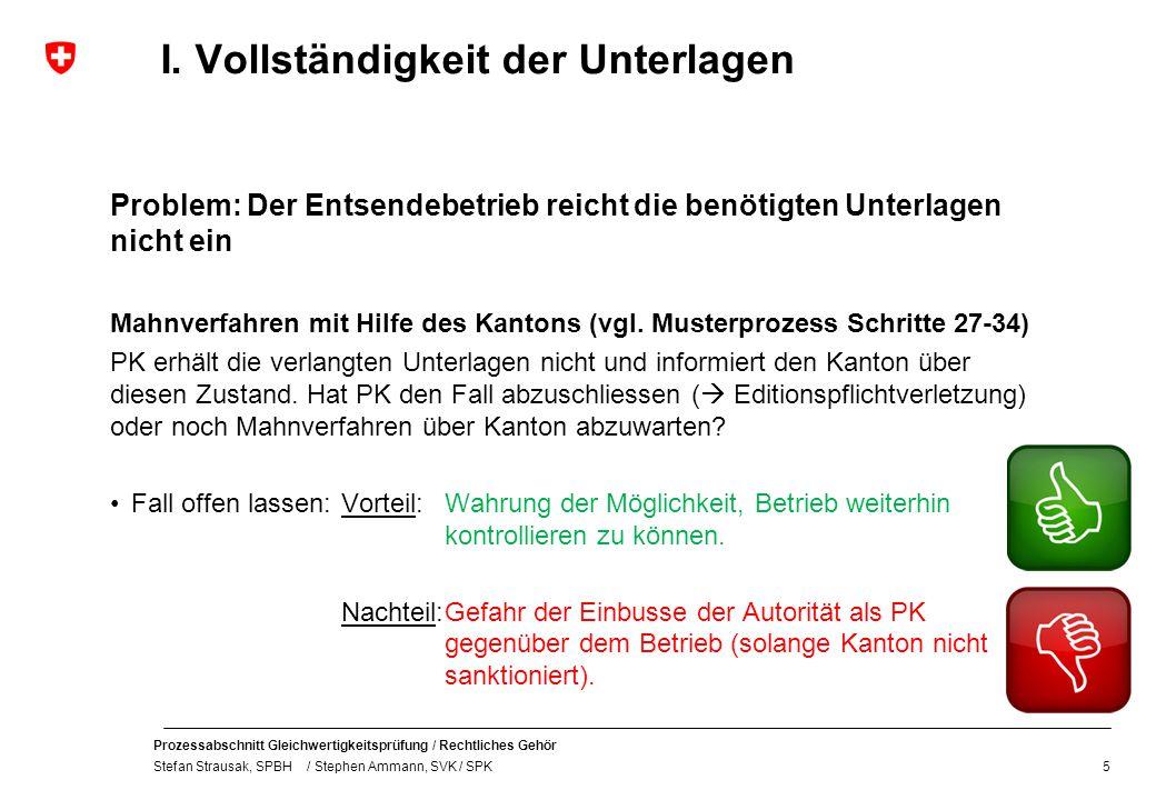 Prozessabschnitt Gleichwertigkeitsprüfung / Rechtliches Gehör Stefan Strausak, SPBH / Stephen Ammann, SVK / SPK I.