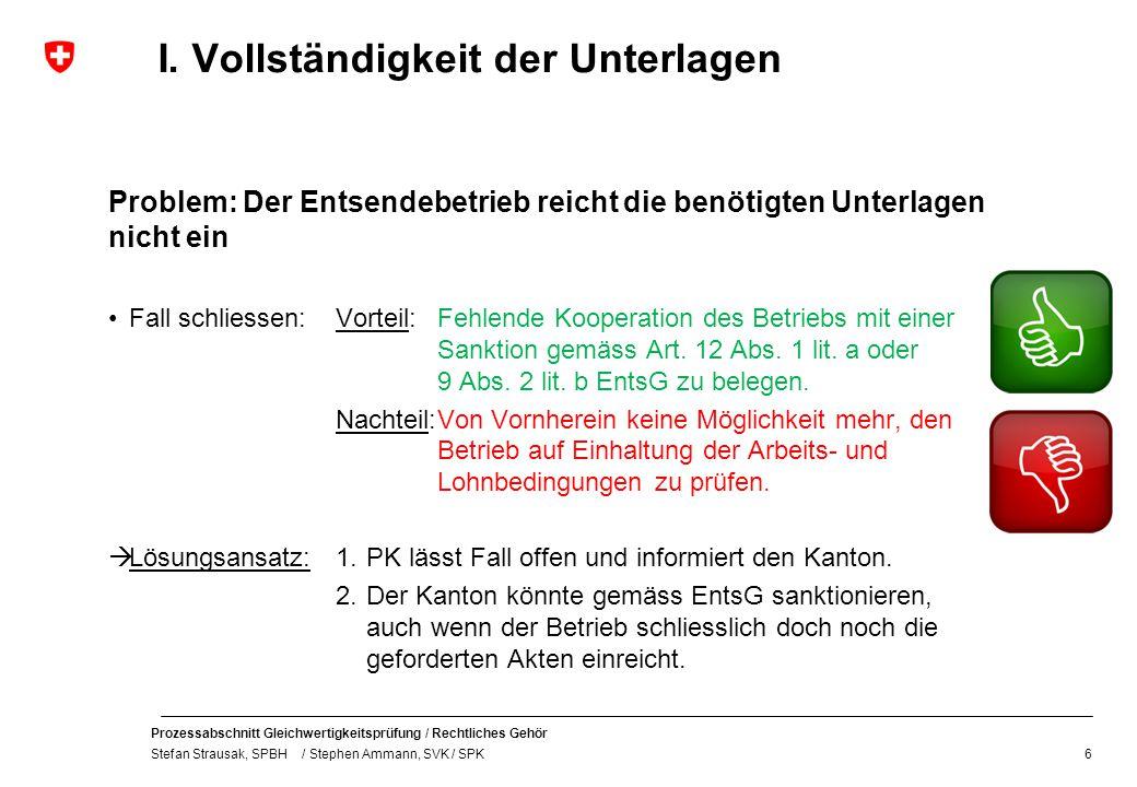 Prozessabschnitt Gleichwertigkeitsprüfung / Rechtliches Gehör Stefan Strausak, SPBH / Stephen Ammann, SVK / SPK I. Vollständigkeit der Unterlagen Prob