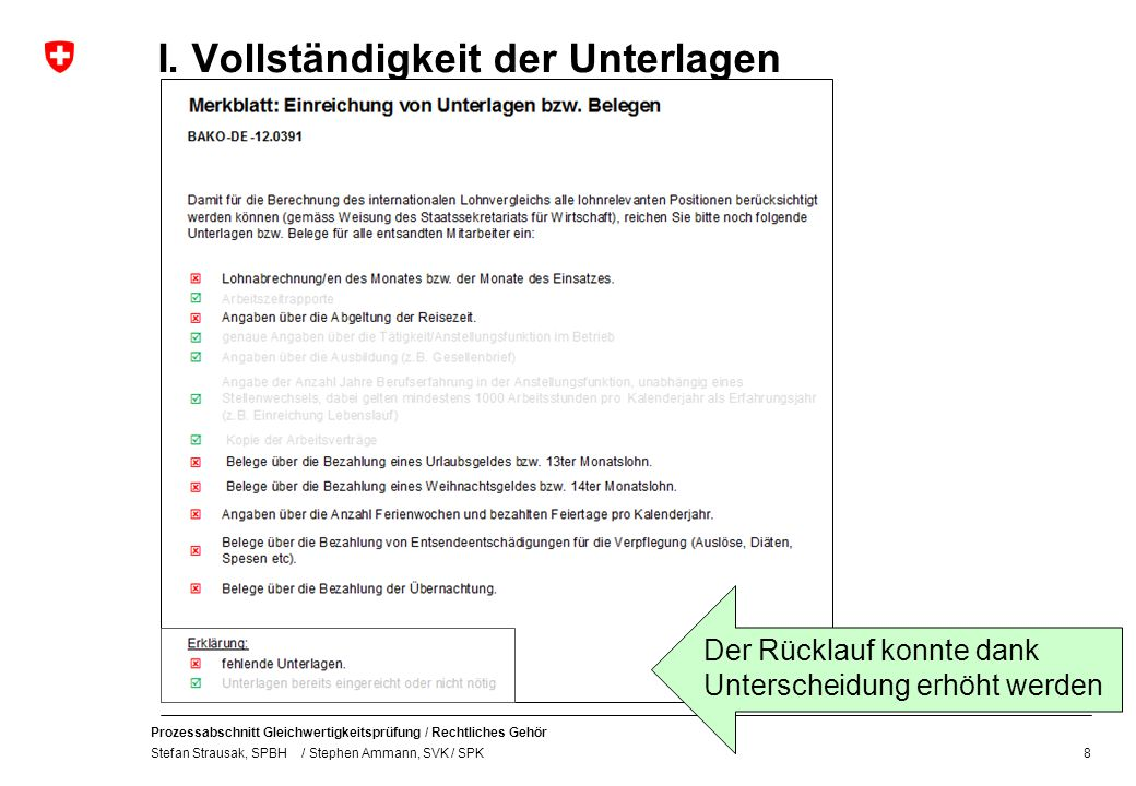 Prozessabschnitt Gleichwertigkeitsprüfung / Rechtliches Gehör Stefan Strausak, SPBH / Stephen Ammann, SVK / SPK I. Vollständigkeit der Unterlagen 8 De