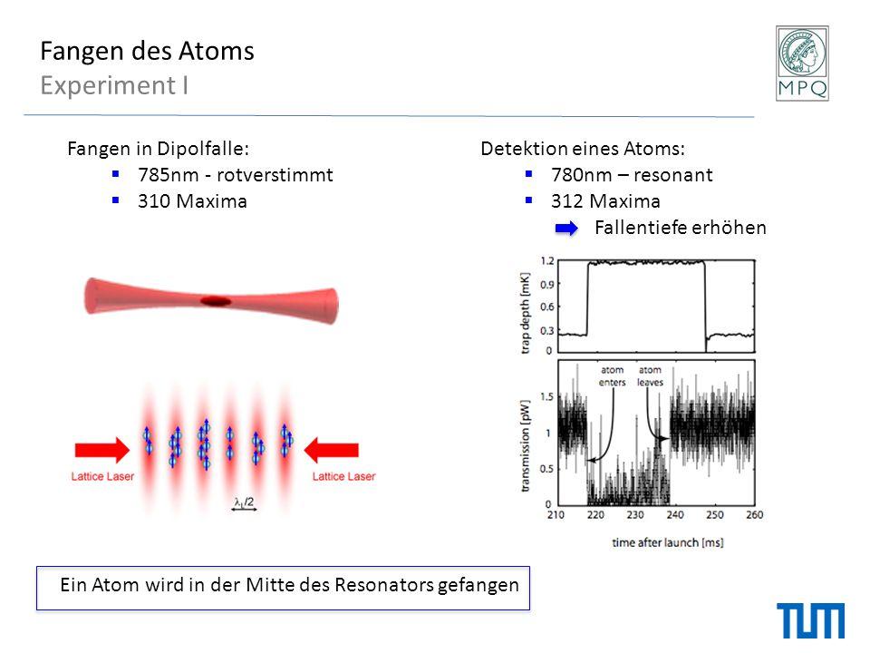 Fangen des Atoms Experiment I Detektion eines Atoms:  780nm – resonant  312 Maxima Fallentiefe erhöhen Fangen in Dipolfalle:  785nm - rotverstimmt
