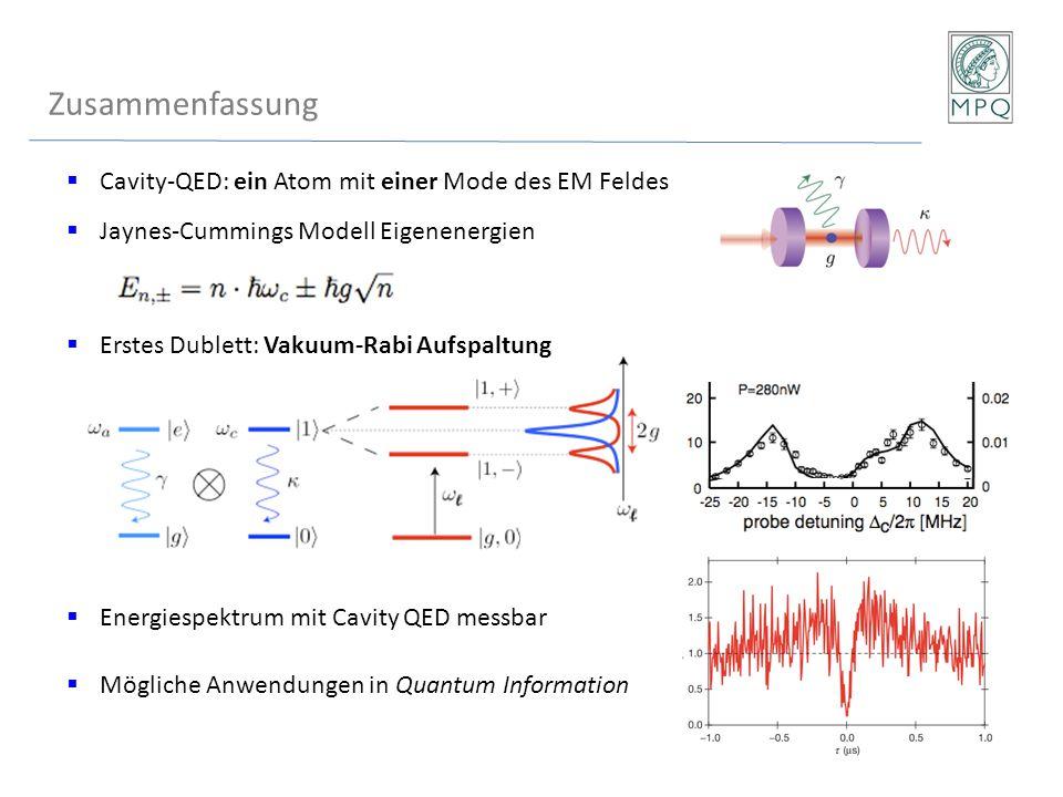  Cavity-QED: ein Atom mit einer Mode des EM Feldes  Jaynes-Cummings Modell Eigenenergien  Erstes Dublett: Vakuum-Rabi Aufspaltung  Energiespektrum
