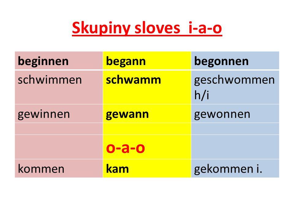 Skupiny sloves i-a-o beginnenbegannbegonnen schwimmenschwammgeschwommen h/i gewinnengewanngewonnen o-a-o kommenkamgekommen i.