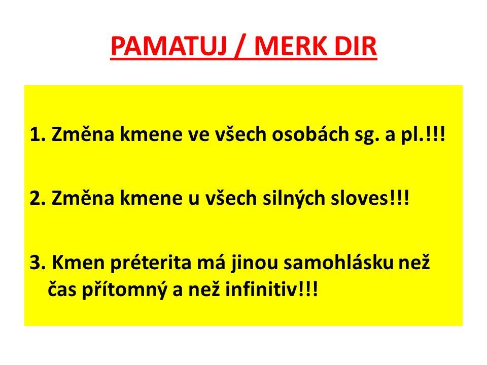 PAMATUJ / MERK DIR 1. Změna kmene ve všech osobách sg. a pl.!!! 2. Změna kmene u všech silných sloves!!! 3. Kmen préterita má jinou samohlásku než čas