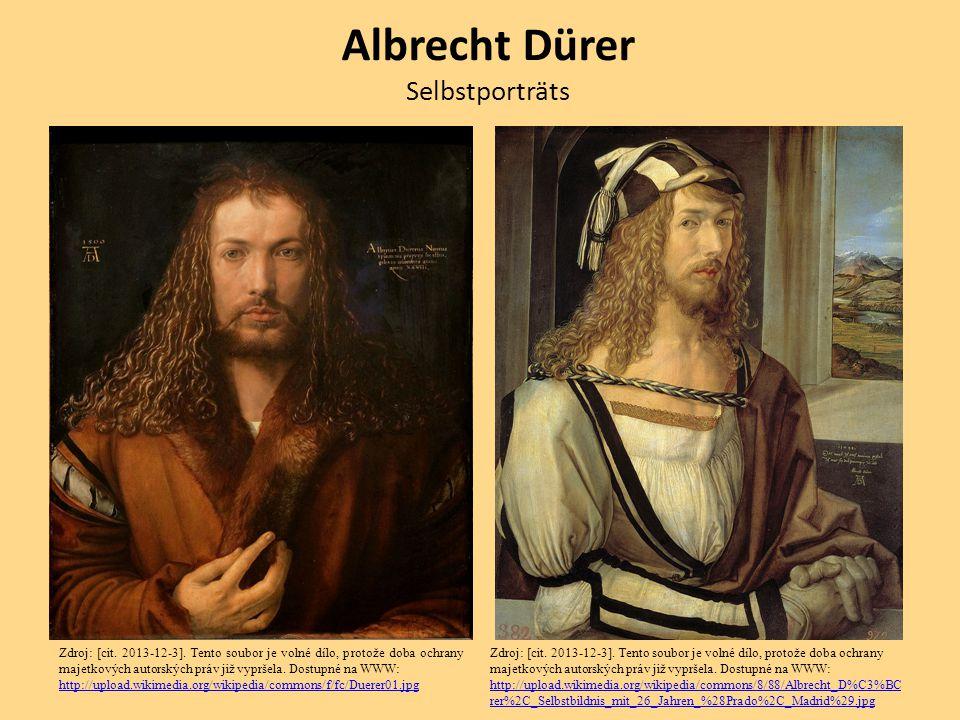 Albrecht Dürer Selbstporträts Zdroj: [cit. 2013-12-3]. Tento soubor je volné dílo, protože doba ochrany majetkových autorských práv již vypršela. Dost