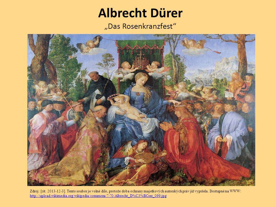 """Albrecht Dürer """"Das Rosenkranzfest"""" Zdroj: [cit. 2013-12-3]. Tento soubor je volné dílo, protože doba ochrany majetkových autorských práv již vypršela"""