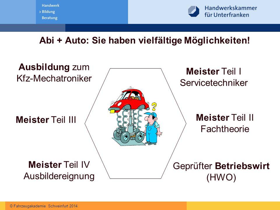 © Fahrzeugakademie Schweinfurt 2014 Abi + Auto: Sie haben vielfältige Möglichkeiten! Ausbildung zum Kfz-Mechatroniker Geprüfter Betriebswirt (HWO) Mei