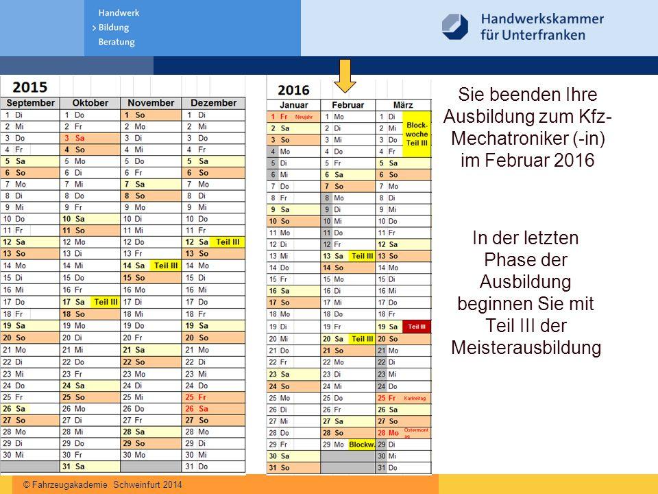 © Fahrzeugakademie Schweinfurt 2014 Sie beenden Ihre Ausbildung zum Kfz- Mechatroniker (-in) im Februar 2016 In der letzten Phase der Ausbildung begin