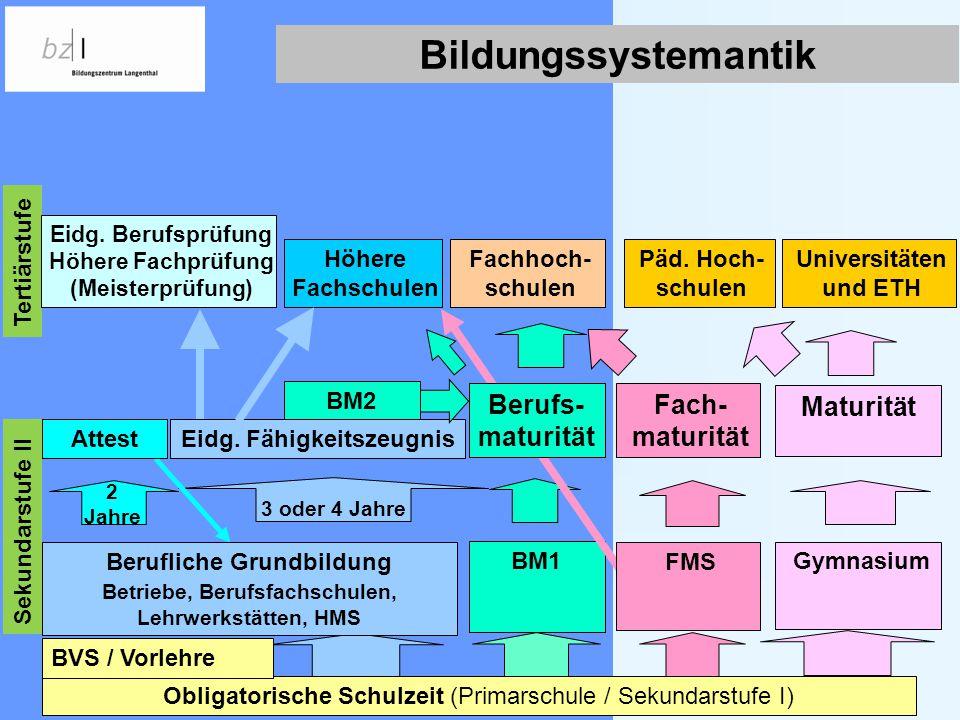 BM2 Obligatorische Schulzeit (Primarschule / Sekundarstufe I) Eidg. Fähigkeitszeugnis 3 oder 4 Jahre 2 Jahre Höhere Fachschulen Fachhoch- schulen Univ