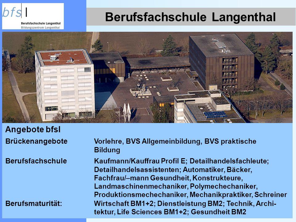 Berufsfachschule Langenthal Angebote bfsl Brückenangebote Vorlehre, BVS Allgemeinbildung, BVS praktische Bildung Berufsfachschule Kaufmann/Kauffrau Pr