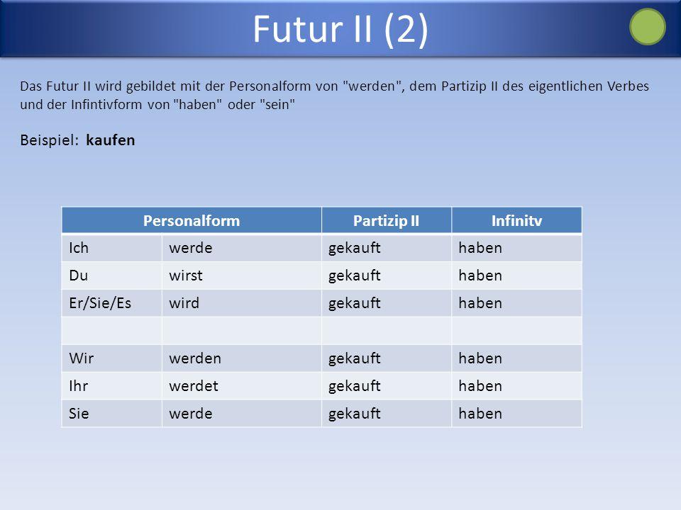 Futur II (2) Das Futur II wird gebildet mit der Personalform von