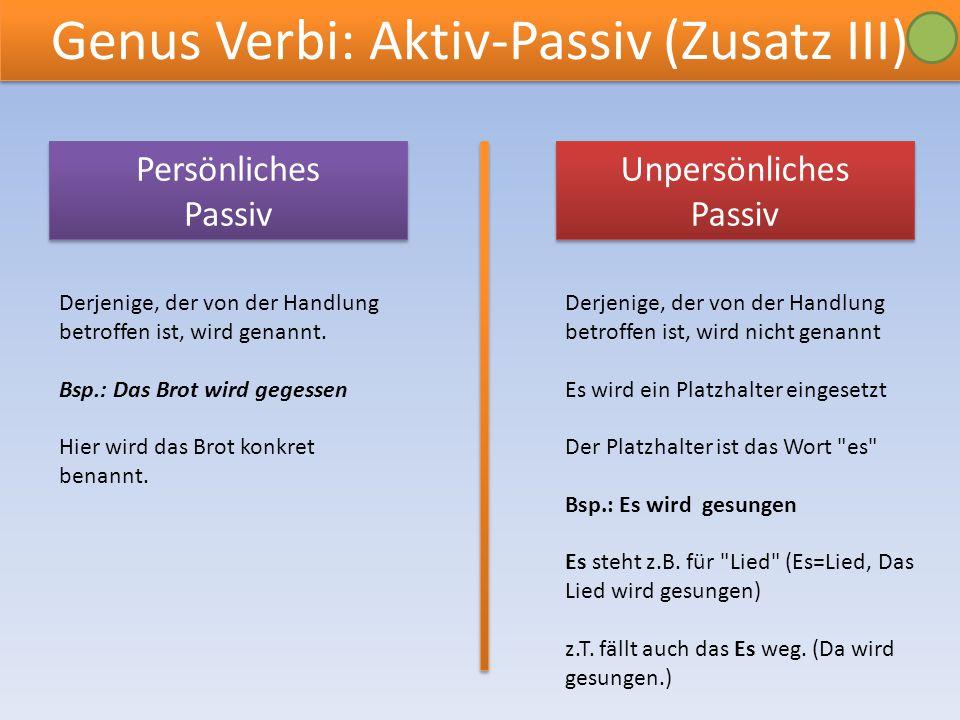 Genus Verbi: Aktiv-Passiv (Zusatz III) Unpersönliches Passiv Unpersönliches Passiv Persönliches Passiv Persönliches Passiv Derjenige, der von der Handlung betroffen ist, wird genannt.