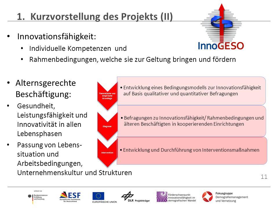 11 1.Kurzvorstellung des Projekts (II) Innovationsfähigkeit: Individuelle Kompetenzen und Rahmenbedingungen, welche sie zur Geltung bringen und förder