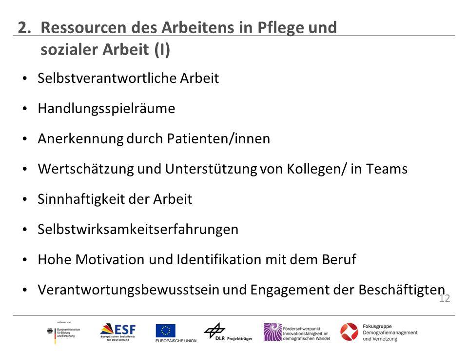 12 Selbstverantwortliche Arbeit Handlungsspielräume Anerkennung durch Patienten/innen Wertschätzung und Unterstützung von Kollegen/ in Teams Sinnhafti