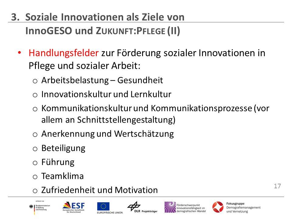 17 Handlungsfelder zur Förderung sozialer Innovationen in Pflege und sozialer Arbeit: o Arbeitsbelastung – Gesundheit o Innovationskultur und Lernkult
