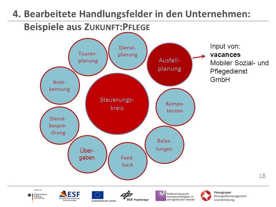 18 4.Bearbeitete Handlungsfelder in den Unternehmen: Beispiele aus Z UKUNFT :P FLEGE Steuerungs- kreis Dienst- bespre- chung Touren- planung Dienst- p