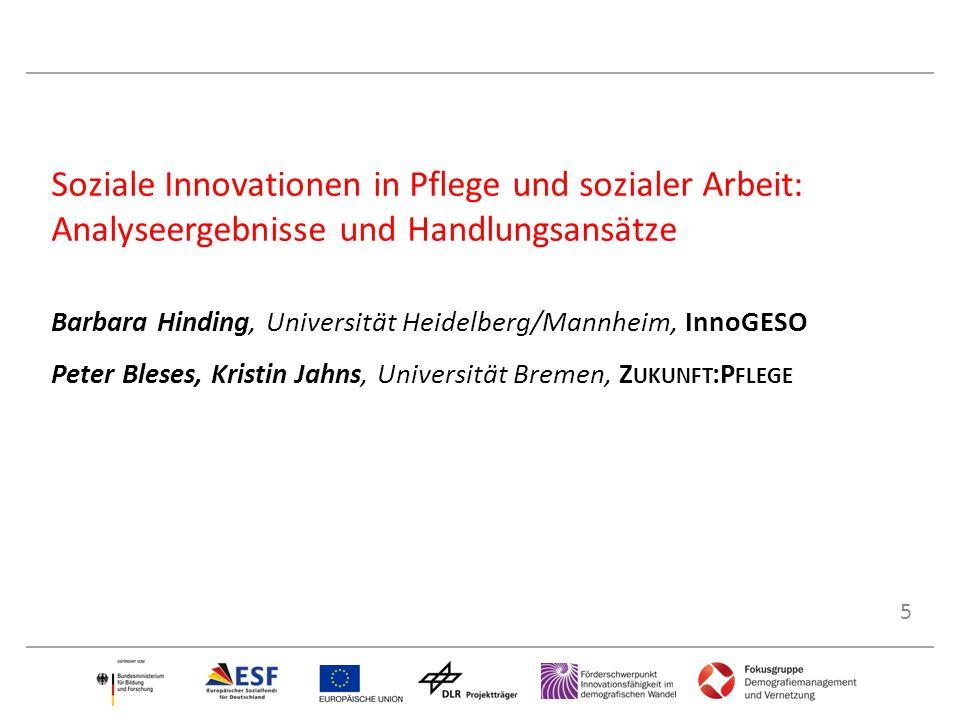 5 Soziale Innovationen in Pflege und sozialer Arbeit: Analyseergebnisse und Handlungsansätze Barbara Hinding, Universität Heidelberg/Mannheim, InnoGES