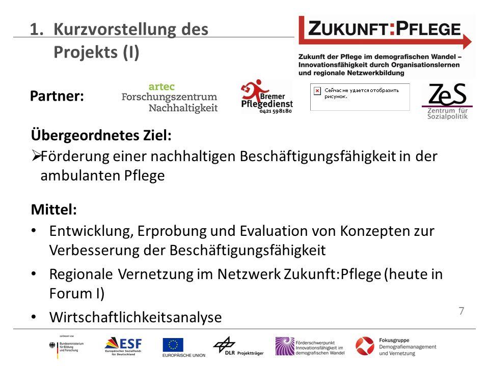 7 1.Kurzvorstellung des Projekts (I) Partner: Übergeordnetes Ziel:  Förderung einer nachhaltigen Beschäftigungsfähigkeit in der ambulanten Pflege Mit