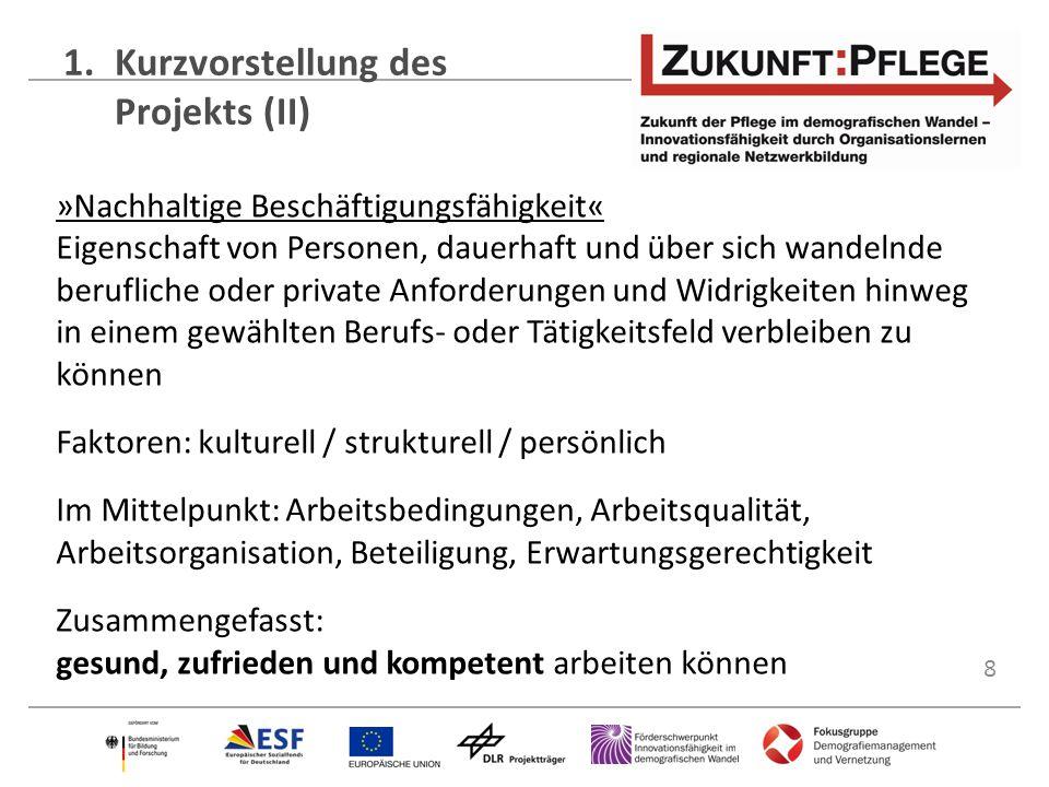8 1.Kurzvorstellung des Projekts (II) »Nachhaltige Beschäftigungsfähigkeit« Eigenschaft von Personen, dauerhaft und über sich wandelnde berufliche ode