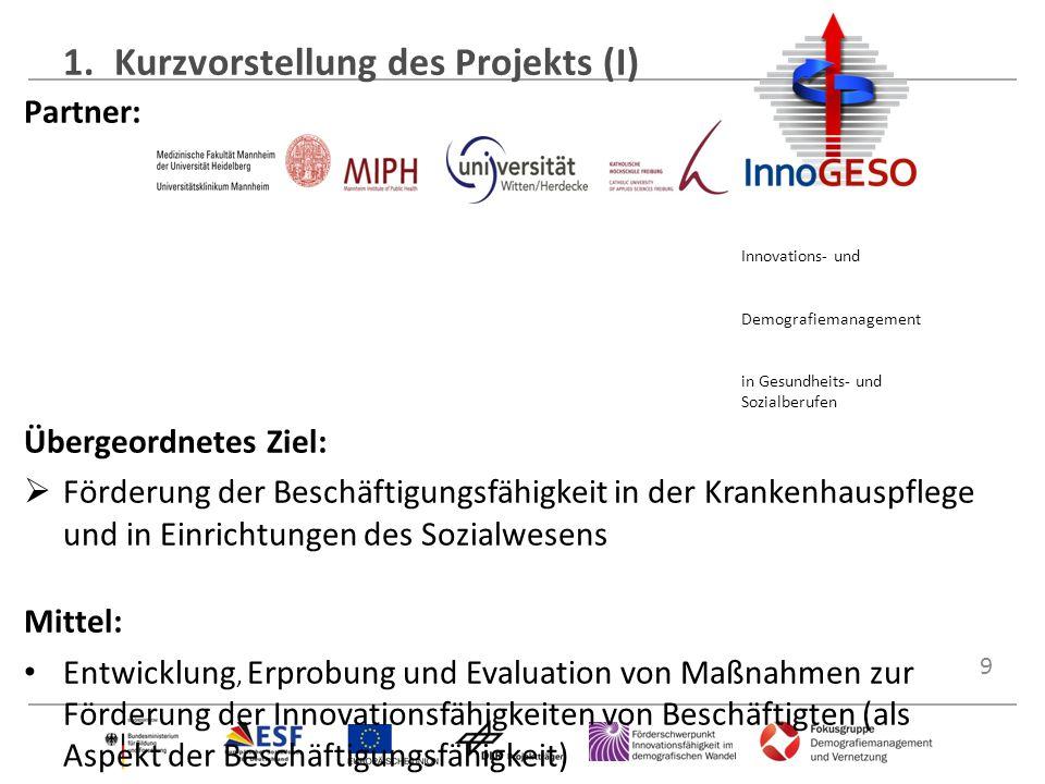 9 1.Kurzvorstellung des Projekts (I) Partner: Innovations- und Demografiemanagement in Gesundheits- und Sozialberufen Übergeordnetes Ziel:  Förderung