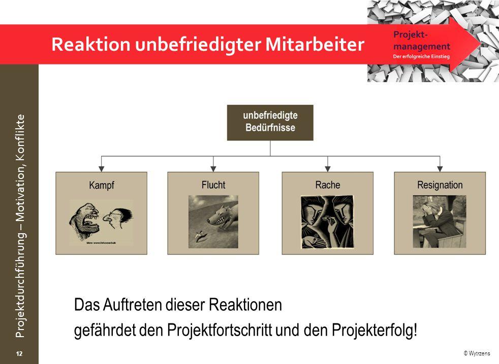 © Wytrzens Projektdurchführung – Motivation, Konflikte Reaktion unbefriedigter Mitarbeiter 12 Das Auftreten dieser Reaktionen gefährdet den Projektfortschritt und den Projekterfolg!