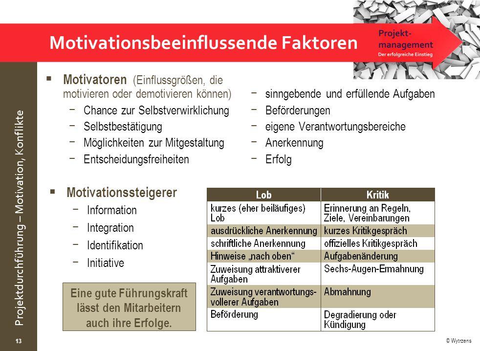 © Wytrzens Projektdurchführung – Motivation, Konflikte Motivationsbeeinflussende Faktoren  Motivatoren (Einflussgrößen, die motivieren oder demotivie