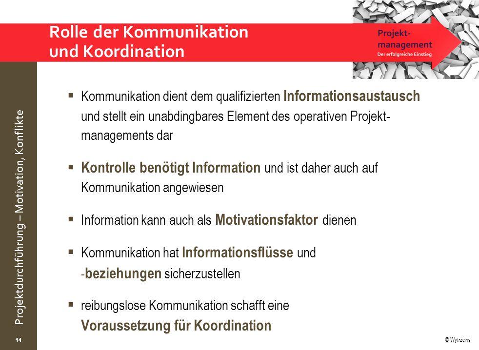 © Wytrzens Projektdurchführung – Motivation, Konflikte Rolle der Kommunikation und Koordination  Kommunikation dient dem qualifizierten Informationsa