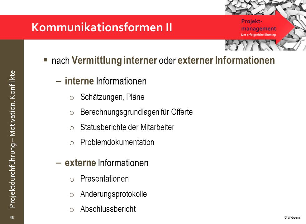 © Wytrzens Projektdurchführung – Motivation, Konflikte Kommunikationsformen II  nach Vermittlung interner oder externer Informationen – interne Infor