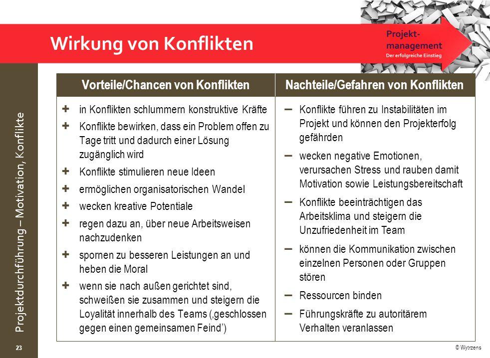 © Wytrzens Projektdurchführung – Motivation, Konflikte 23 + in Konflikten schlummern konstruktive Kräfte + Konflikte bewirken, dass ein Problem offen