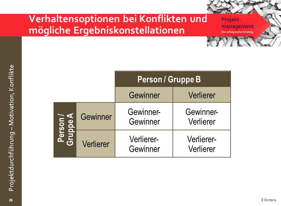 © Wytrzens Projektdurchführung – Motivation, Konflikte Verhaltensoptionen bei Konflikten und mögliche Ergebniskonstellationen 26