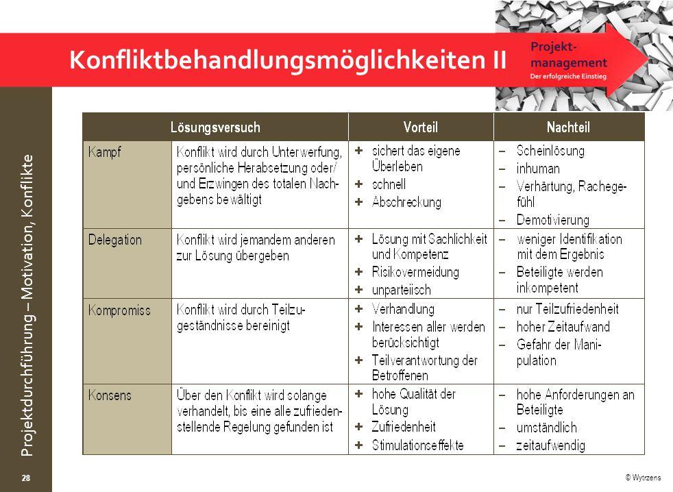 © Wytrzens Projektdurchführung – Motivation, Konflikte Konfliktbehandlungsmöglichkeiten II 28