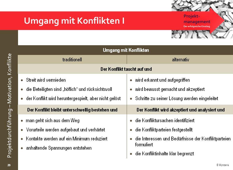 © Wytrzens Projektdurchführung – Motivation, Konflikte 29 Umgang mit Konflikten I